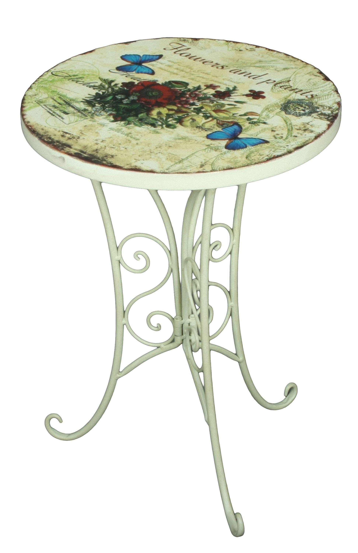 Tisch Rund Garten.2er Set Beistelltisch Floral Garten Balkon Tisch Rund Shabby Vintage Stil Weiß Dynamic 24 De