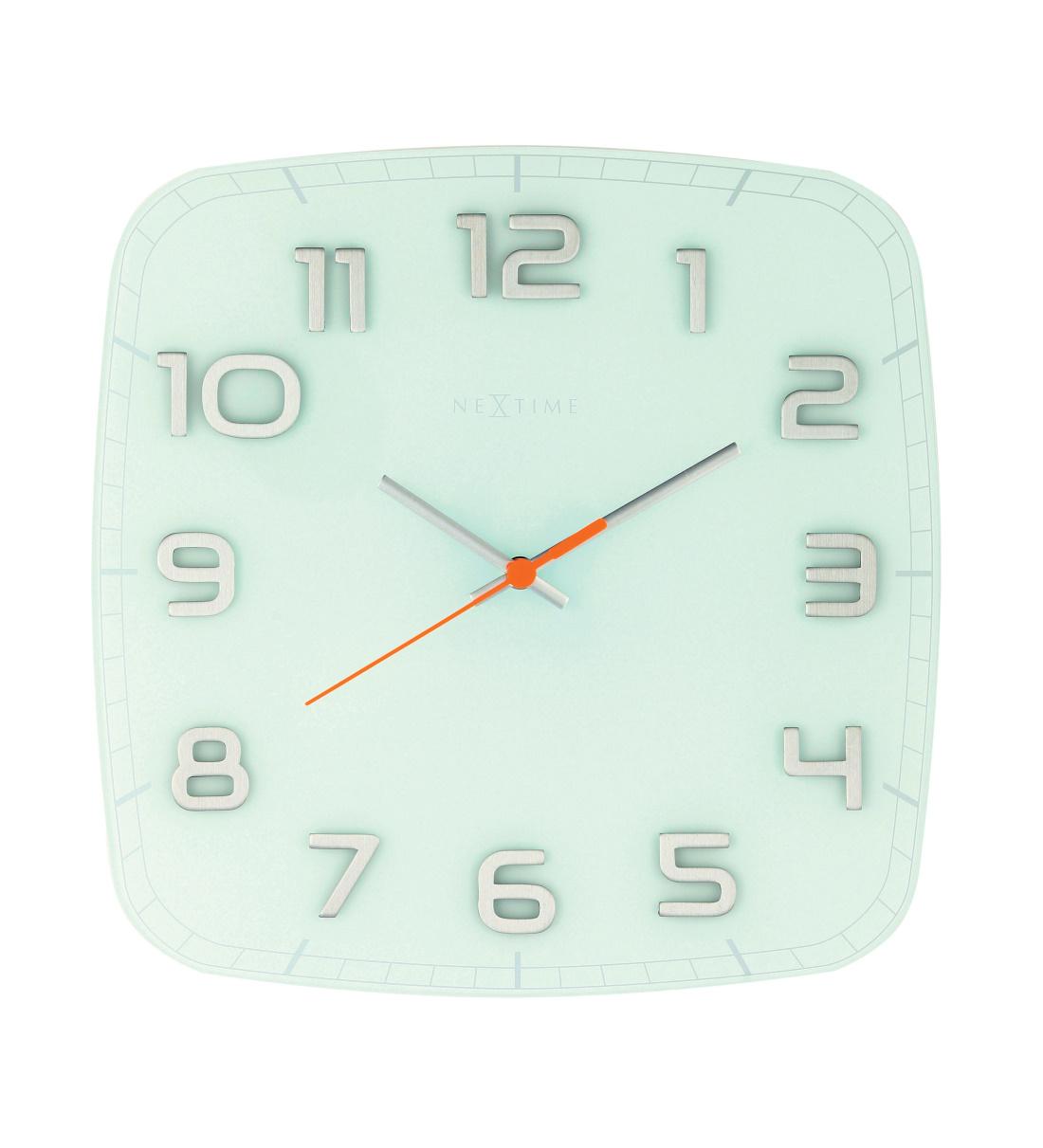 NeXtime Wanduhr CLASSY SQUARE 30x30 cm lautlos Wohnzimmer Glas Büro ...