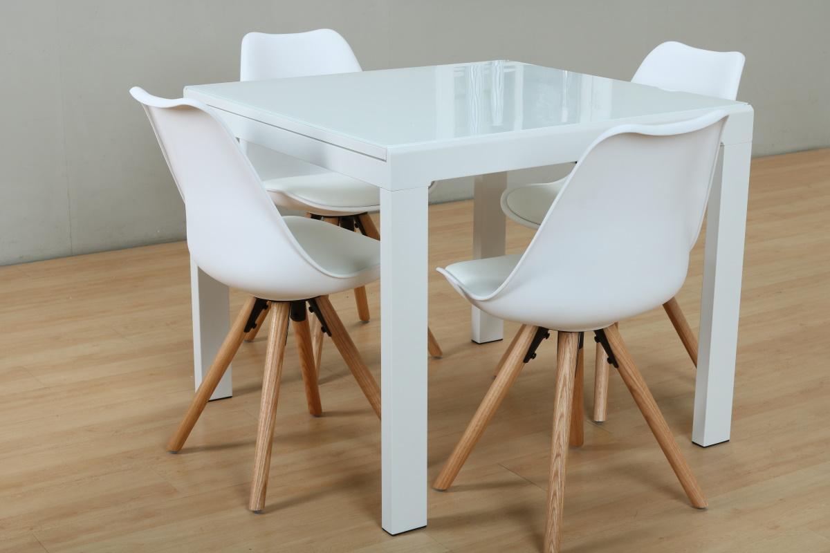 Details Esstisch Stuhl Eiche 5tlg Zu Esszimmer Sitzgruppe Weiß Stühle Essgruppe Holz Tisch qS5jc34ARL
