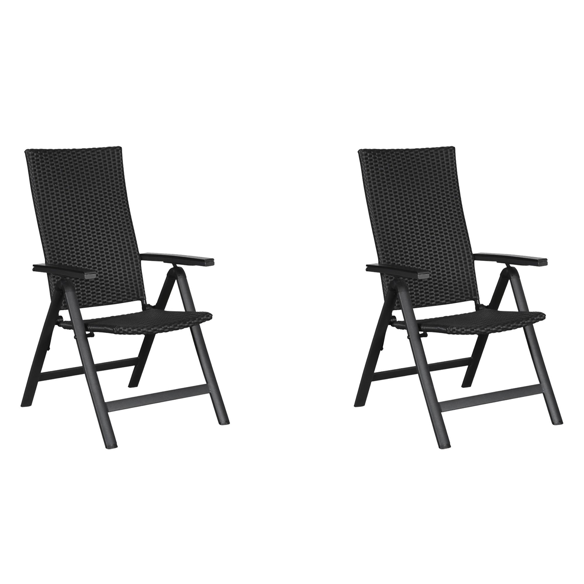 Détails sur 2x Kars Chaise de Jardin 6 Postes Noir/Gris Dossier Haut  Fauteuil