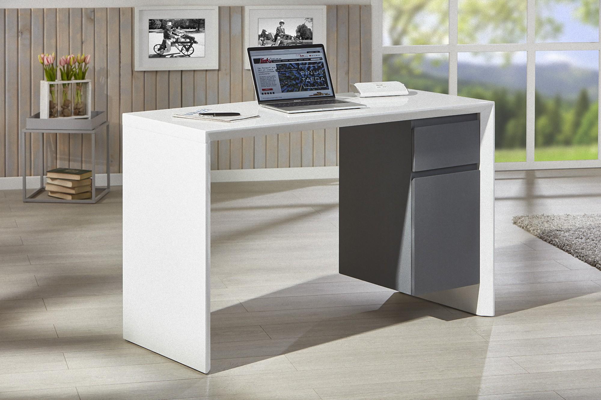 Schreibtisch Megsir Hochglanz Weiss Grau Tisch Burotisch Computer Computertisch Dynamic 24 De