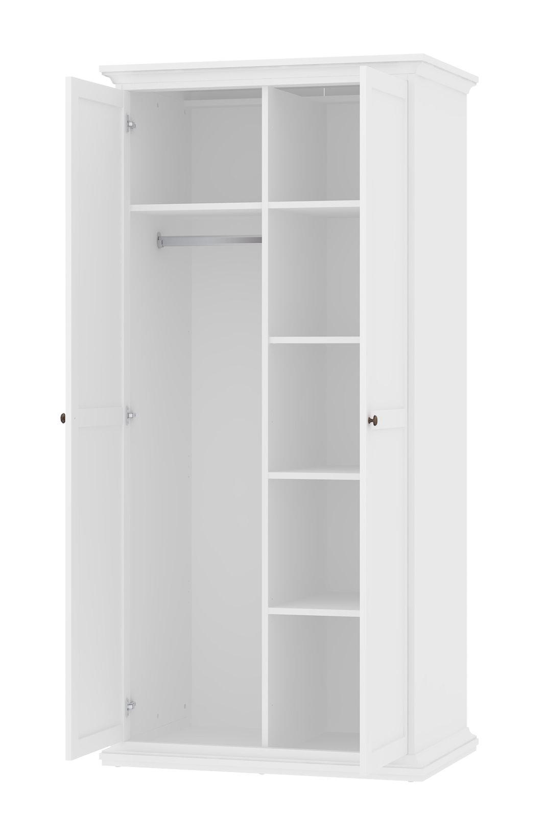Kleiderschrank Paris Weiß Landhaus Schlafzimmerschrank Flügeltürenschrank Ow8nNPk0X