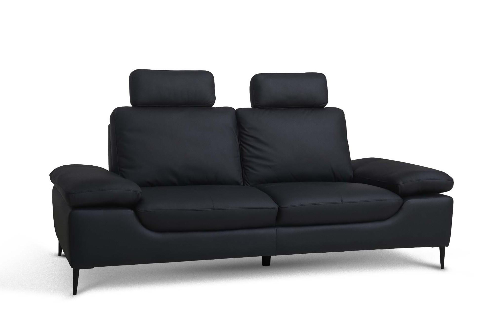 Echtleder Sofa Vita 3 Sitzer Couch Ledersofa Loungesofa Wohnzimmer schwarz  | dynamic-24.de