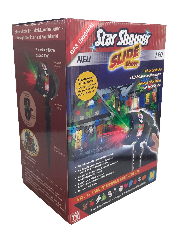 Sockel Laser Projektor Beleuchtung Garten 48 LED Motive Star Shower Slide Show