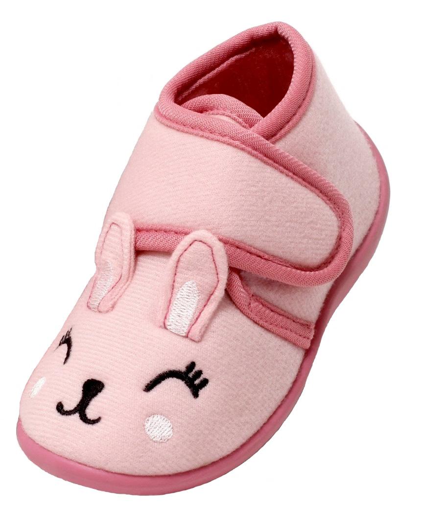 Details zu Kinder Mädchen Hausschuhe Fun Gr. 22 25 Slipper Kaninchen Klettverschluss rosa