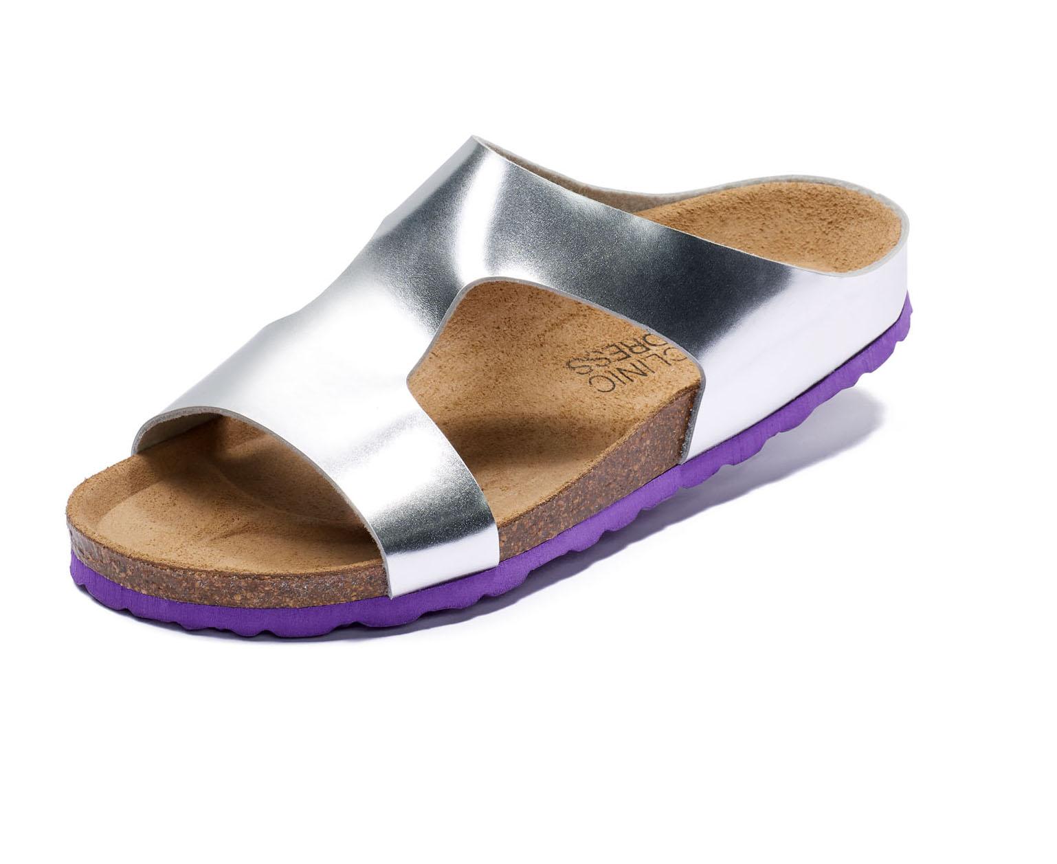 Clinic Dress Bio Damen Clogs Pantolette Sandalen Slipper Komfort Schuhe silber | dynamic