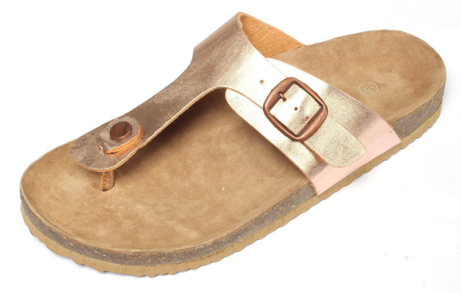 Details zu Damen Bio Zehentrenner rose gold Gr. 37 41 Pantoletten Sandalen Slipper Clogs
