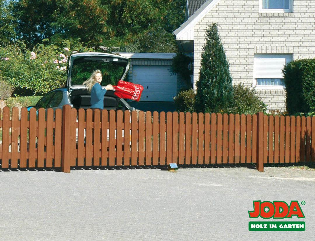 Joda Vorgartenzaun 180x80 Zaun Holz Holzzaun Gartenzaun Walnuss