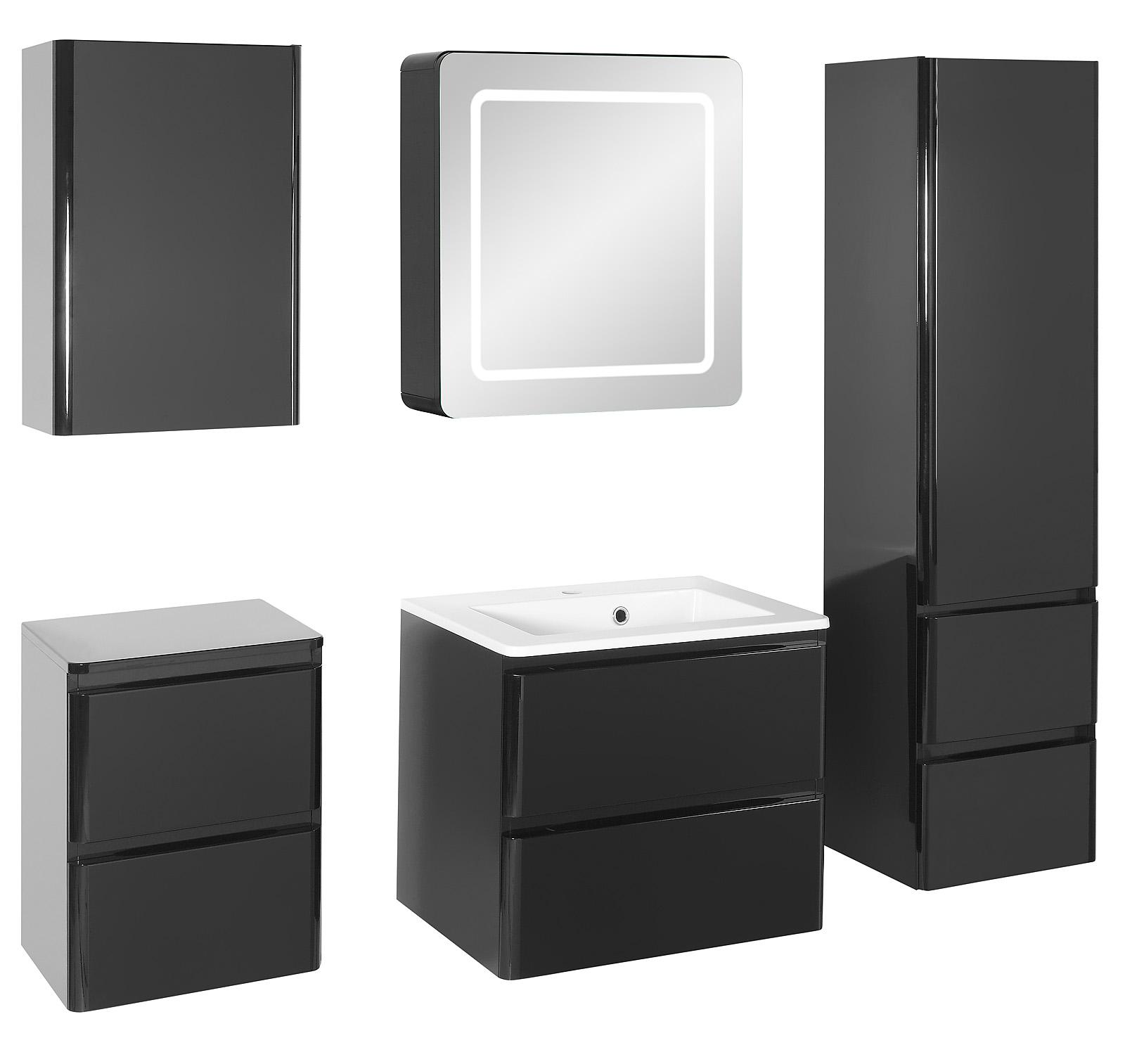 Badezimmer-Set MAJA large in schwarz hochglanz Badmöbel Set ...