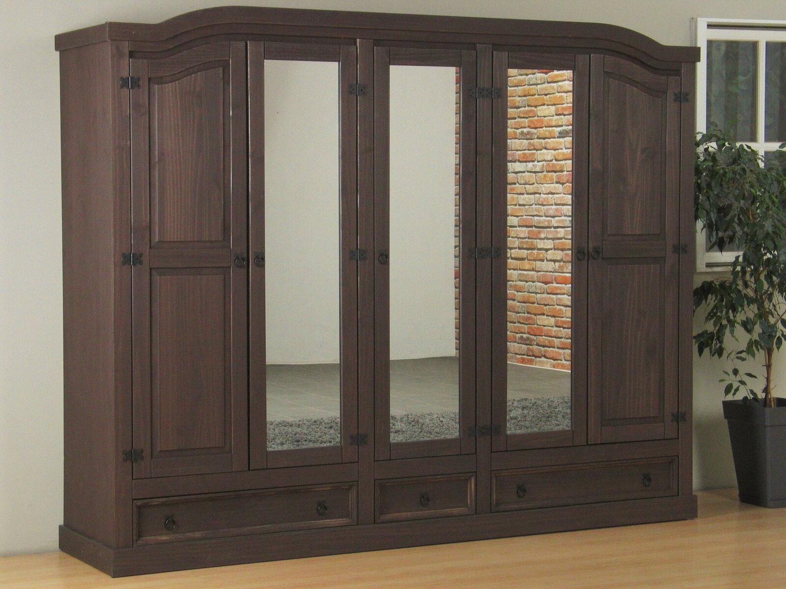 5 t riger kleiderschrank new mexico kiefer massiv mexiko schlafzimmer schrank ebay. Black Bedroom Furniture Sets. Home Design Ideas