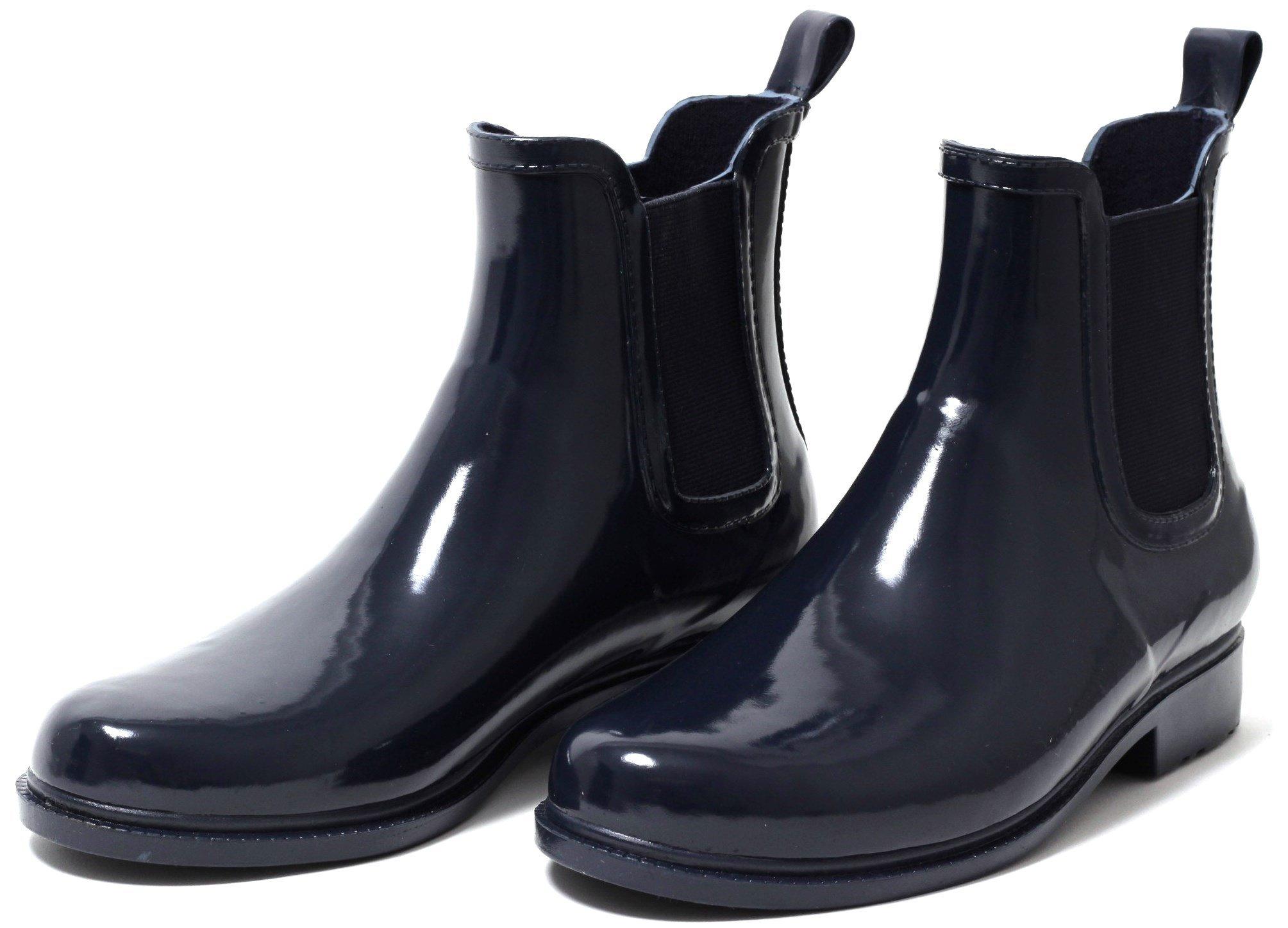 pretty nice d94f1 5fd00 Damen Chelsea Gummistiefel Regen Stiefel Stiefelette Boots Schlupfstiefel  navy
