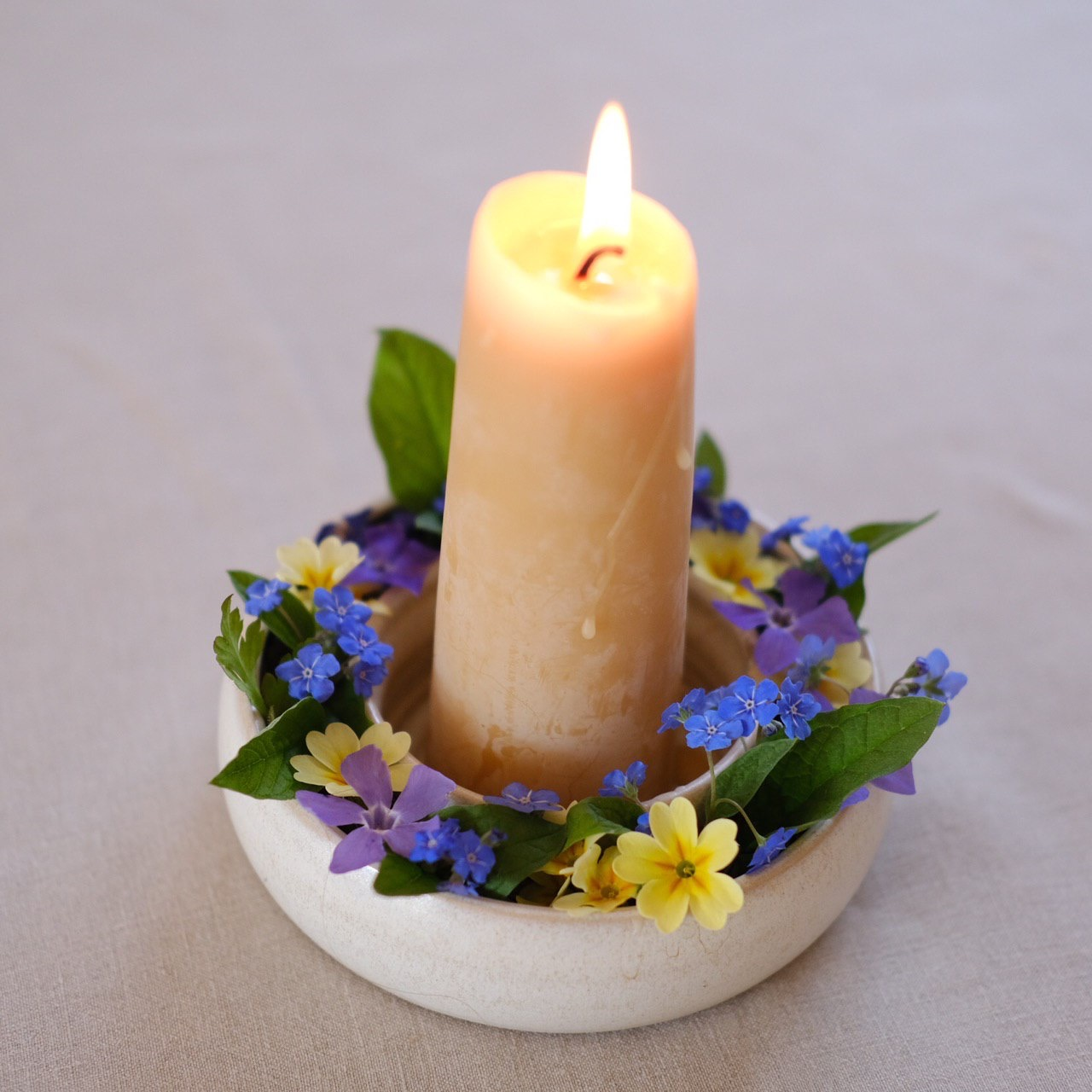 Ceramic Flower Ring with Candle Base