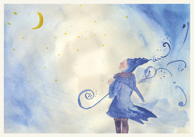 Postcard Fairy in the Wind