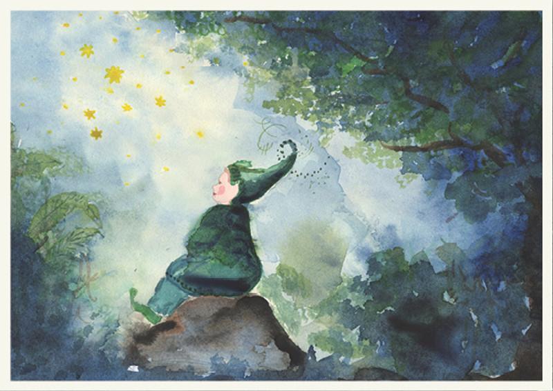 Postcard Gnome and Stars