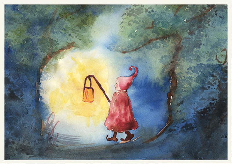 Postcard Gnome with Lantern