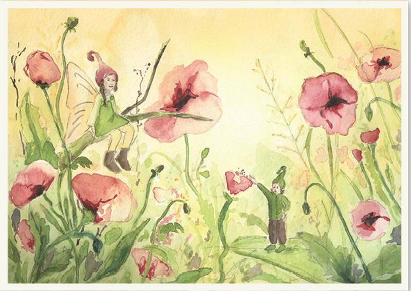 Postcard Fairy in Field full of Flowers