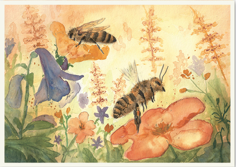 Postcard Bees in a Field of Flowers