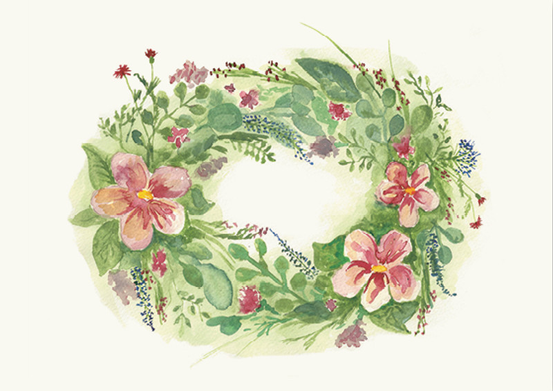 Greeting Card Flower Wreath with Pink Flowers