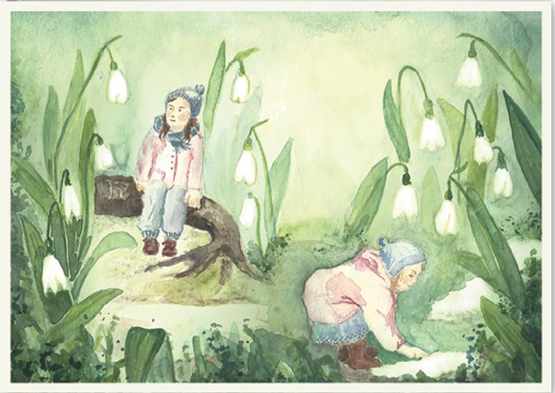 Postkarte: Elfen mit Schneeglöckchen