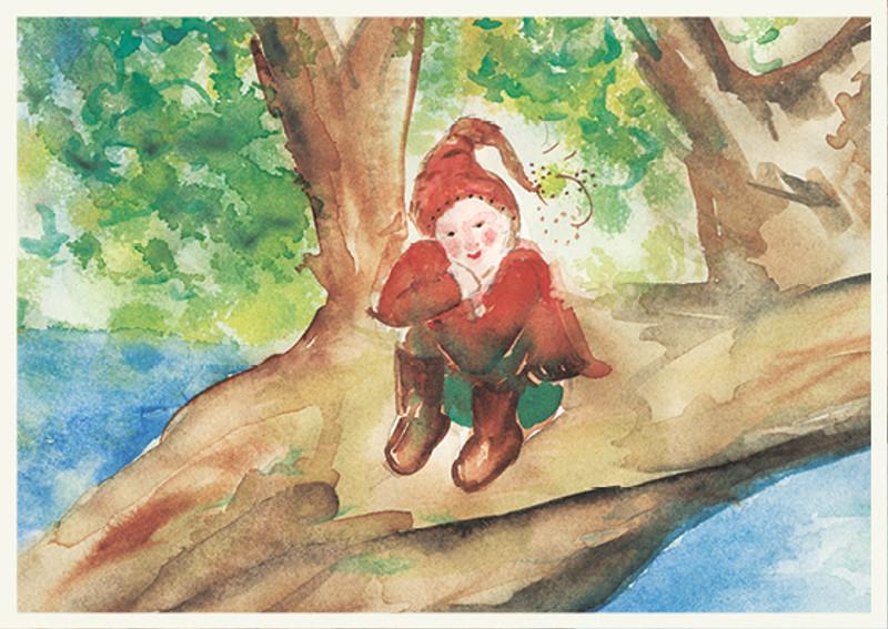 Postcard Gnome in a Tree