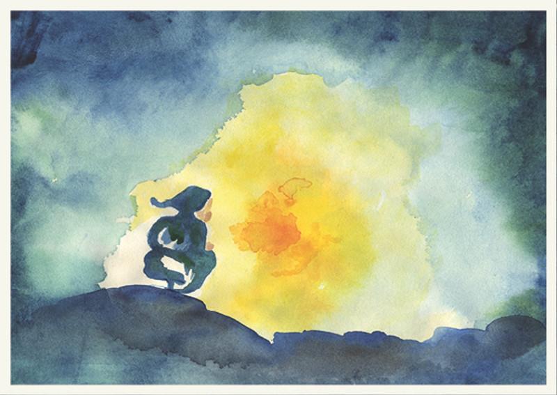 Postkarte: Zwerg im Licht