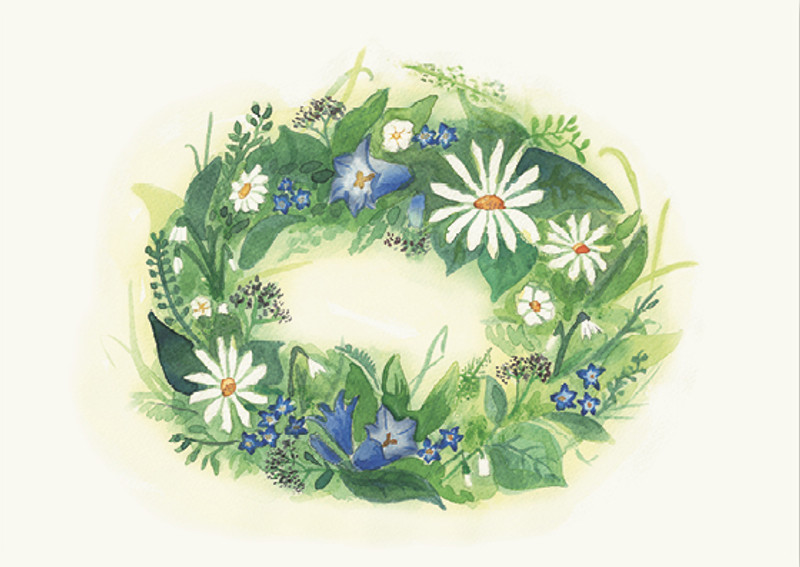 Greeting Card Flower Wreath with Blue Flowers