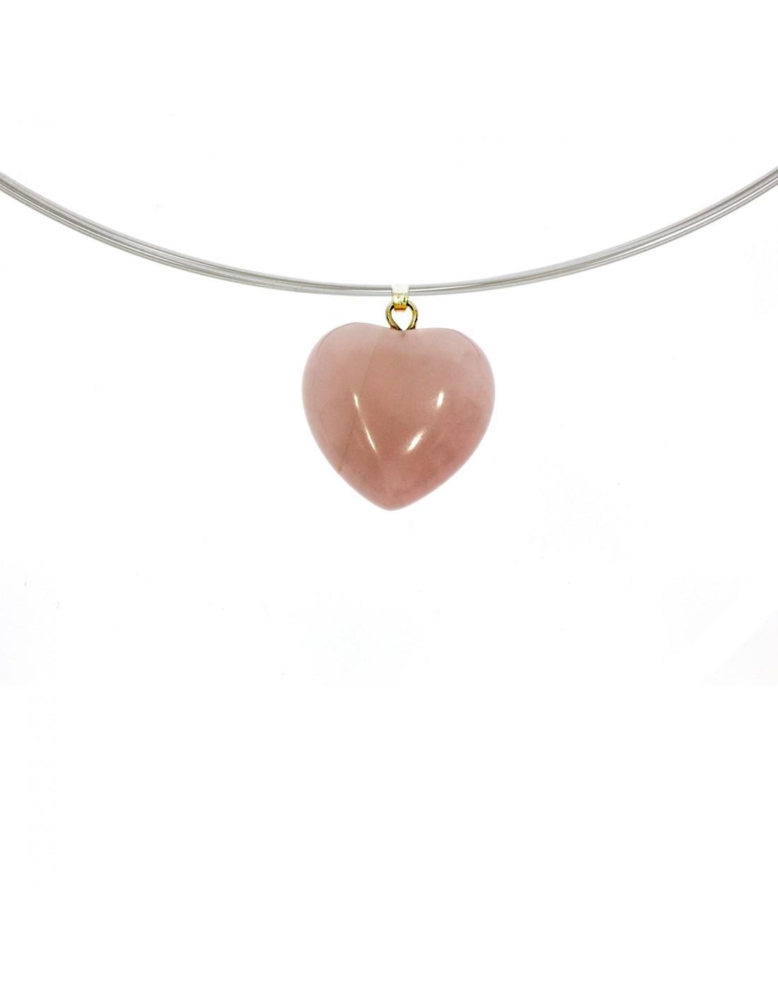Herzanhänger Rosenquarz oder roter Jaspis