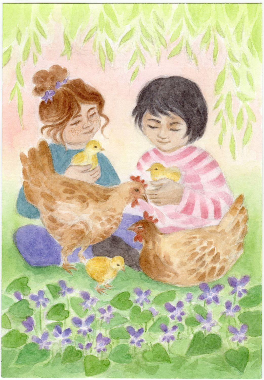 Postkarte: Osterküken