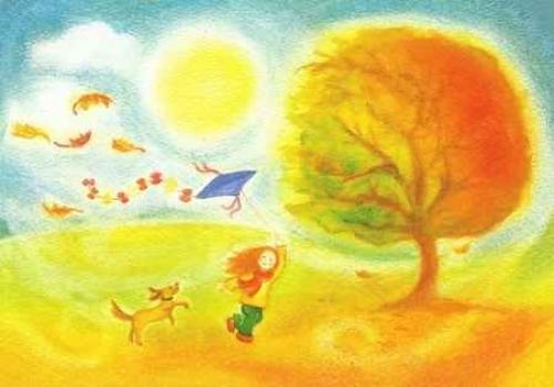 Postkarte: Herbsttag