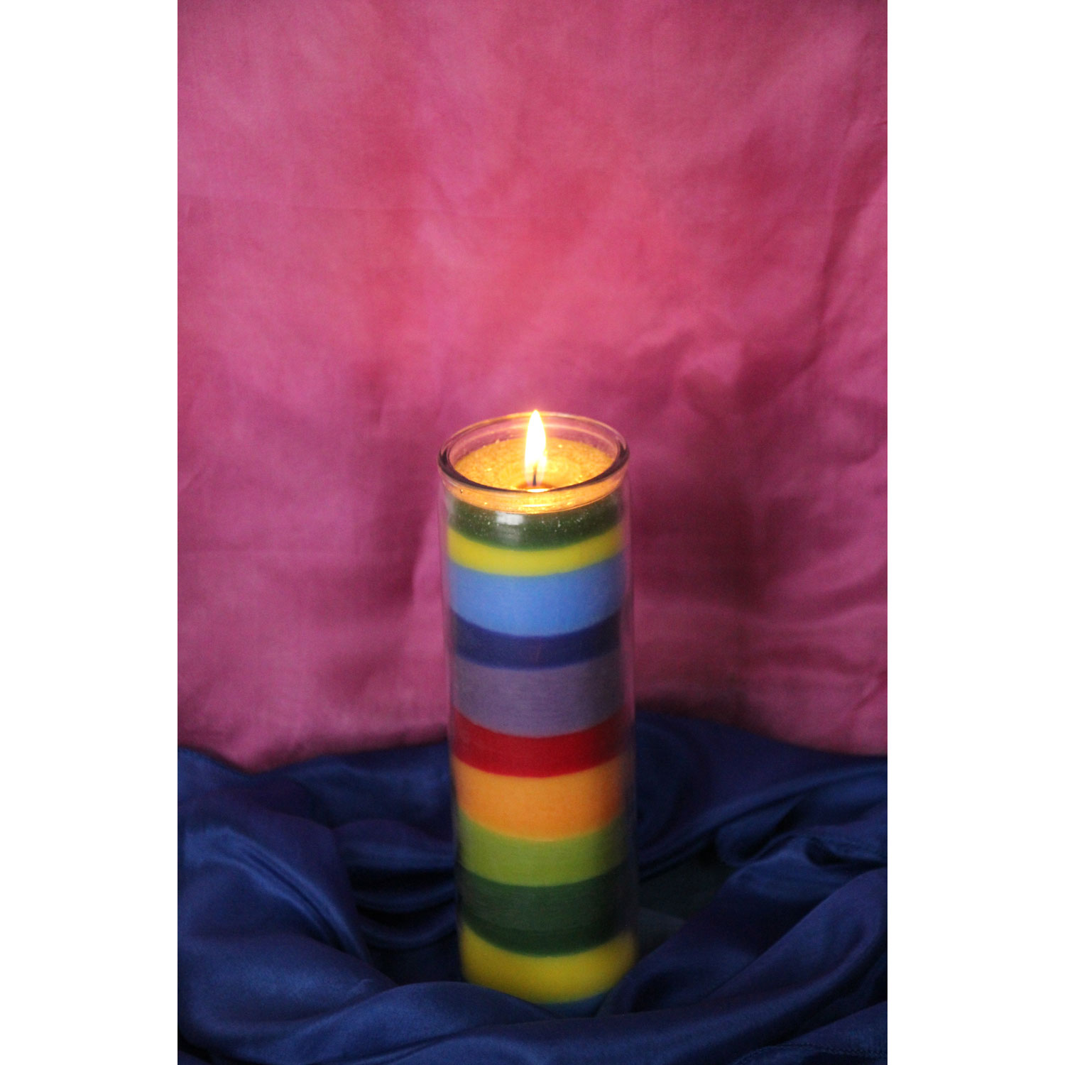 Multicoloured Birthday Candle in a Glass