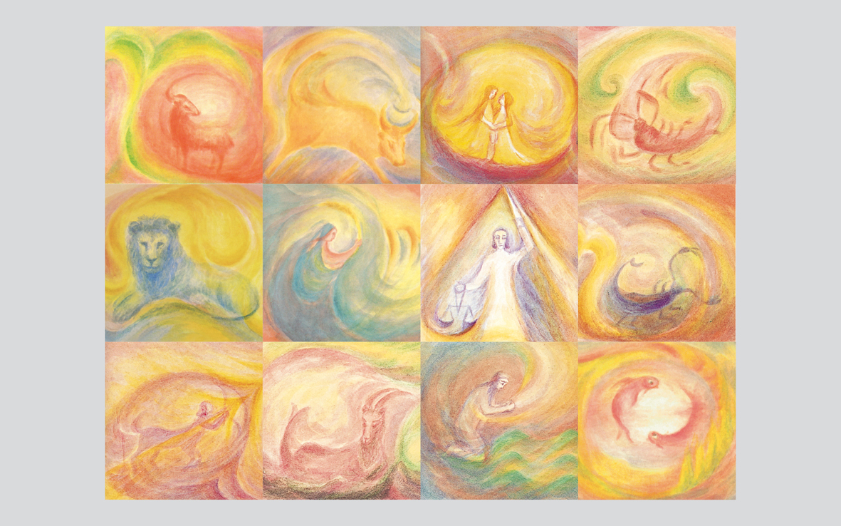 Set of 12 Postcards Signs of the Zodiac by Christhilde Meining-Jenny