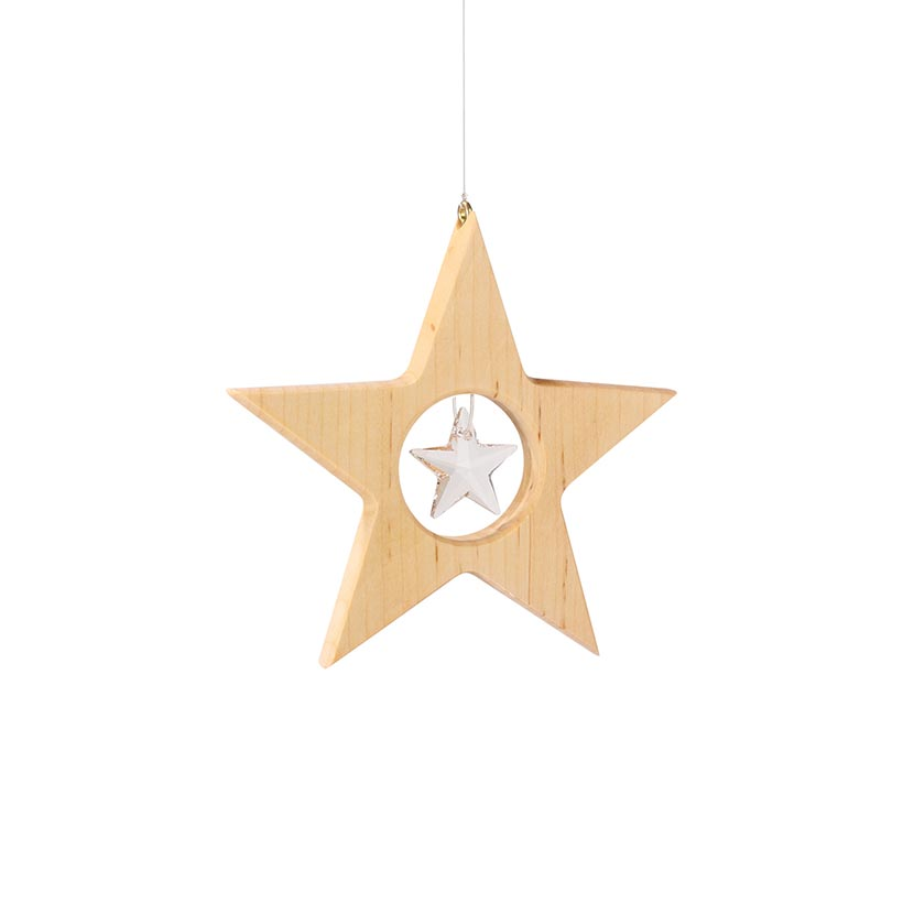 Wooden Star Hanger with Window Crystal