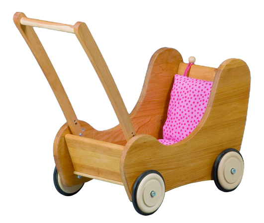 Wooden Doll Pram made of Alder Wood with Red Cushions