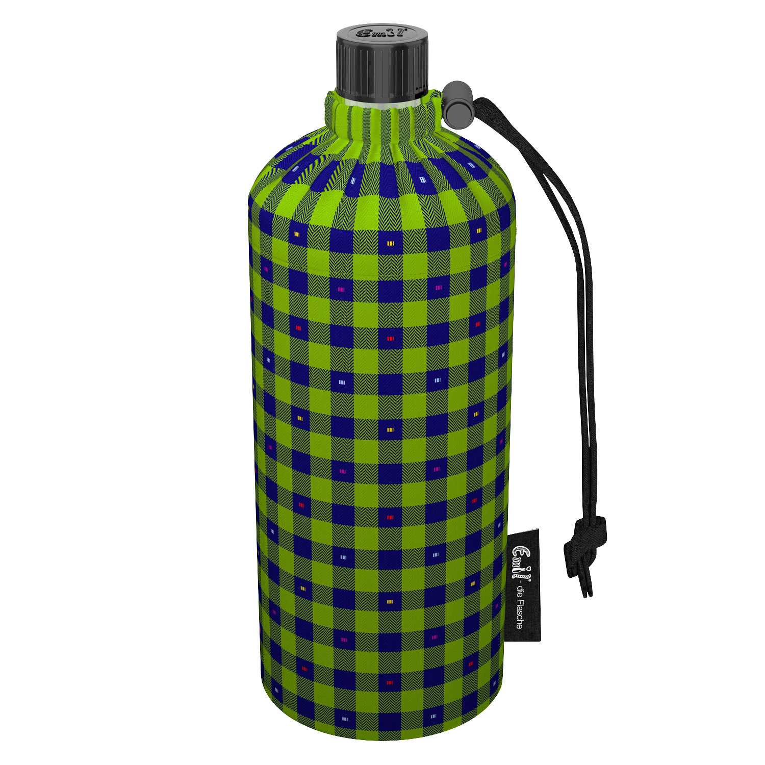 Emil Drinking Dottle with Sleeve made of Organic Cotton Green Checkered 0.4 l