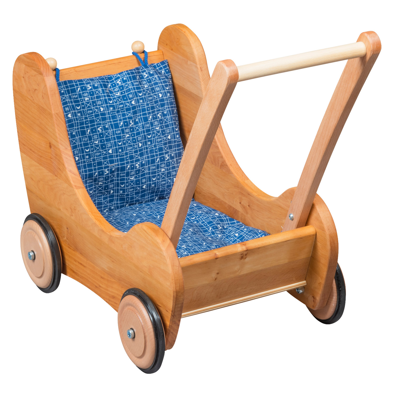 Puppenwagen mit blauem Kissen