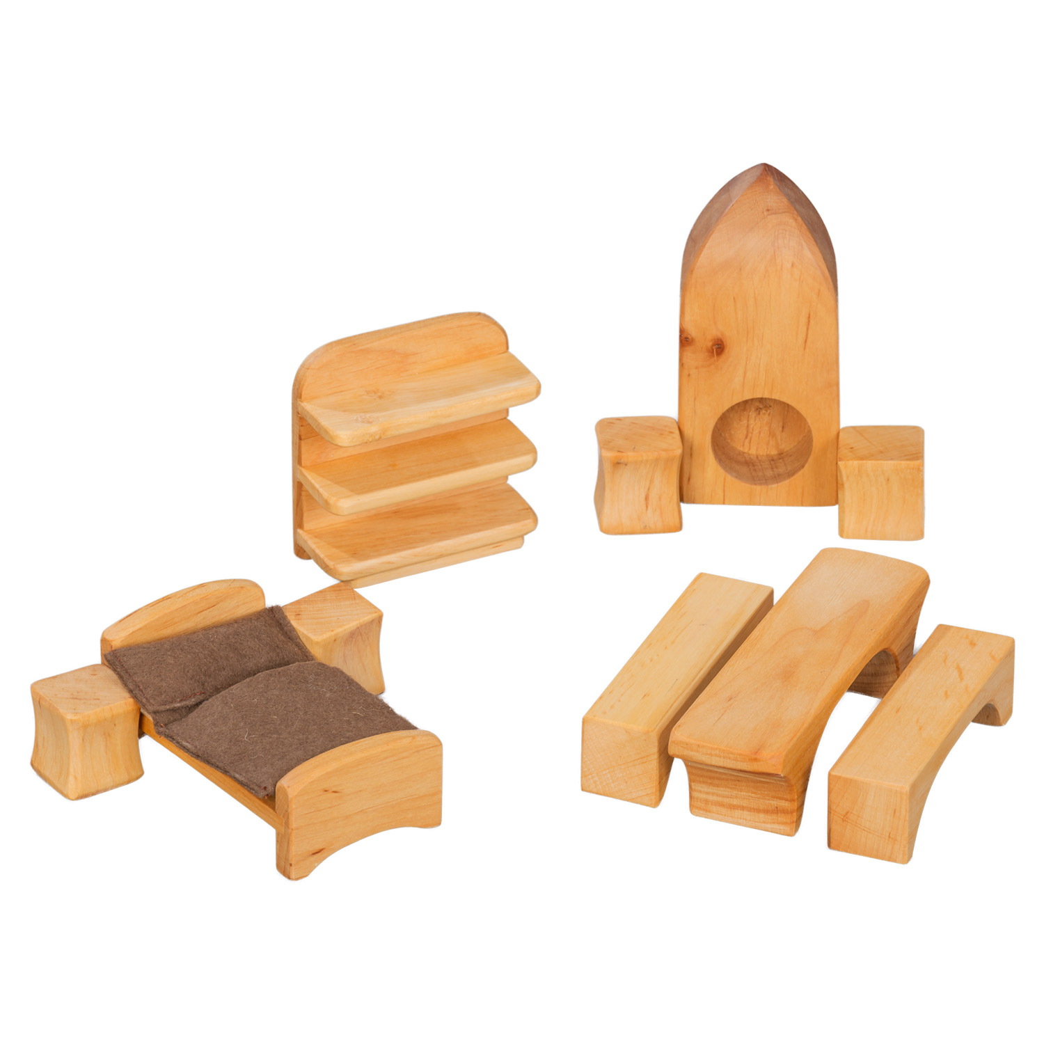 Set of Wooden Doll House Furniture 10 Pieces