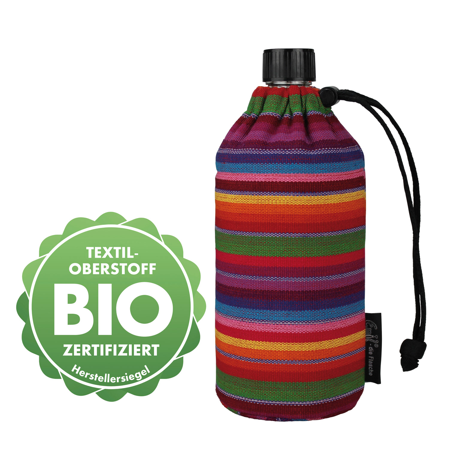 Emil Oval Drinking Bottle with Striped Sleeve