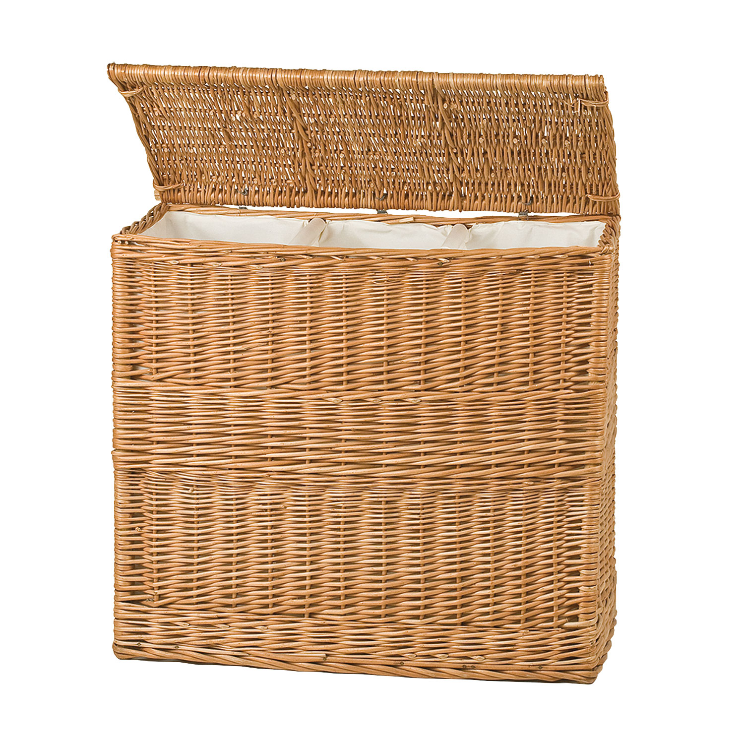 Wicker Laundry Basket with Three Compartments