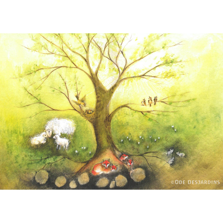Set of 4 Postcards Seasons by Ode Desjardins