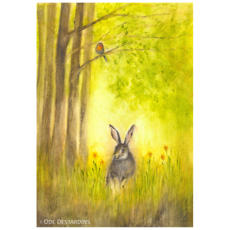 Set of 4 Postcards Animals by Ode Desjardins
