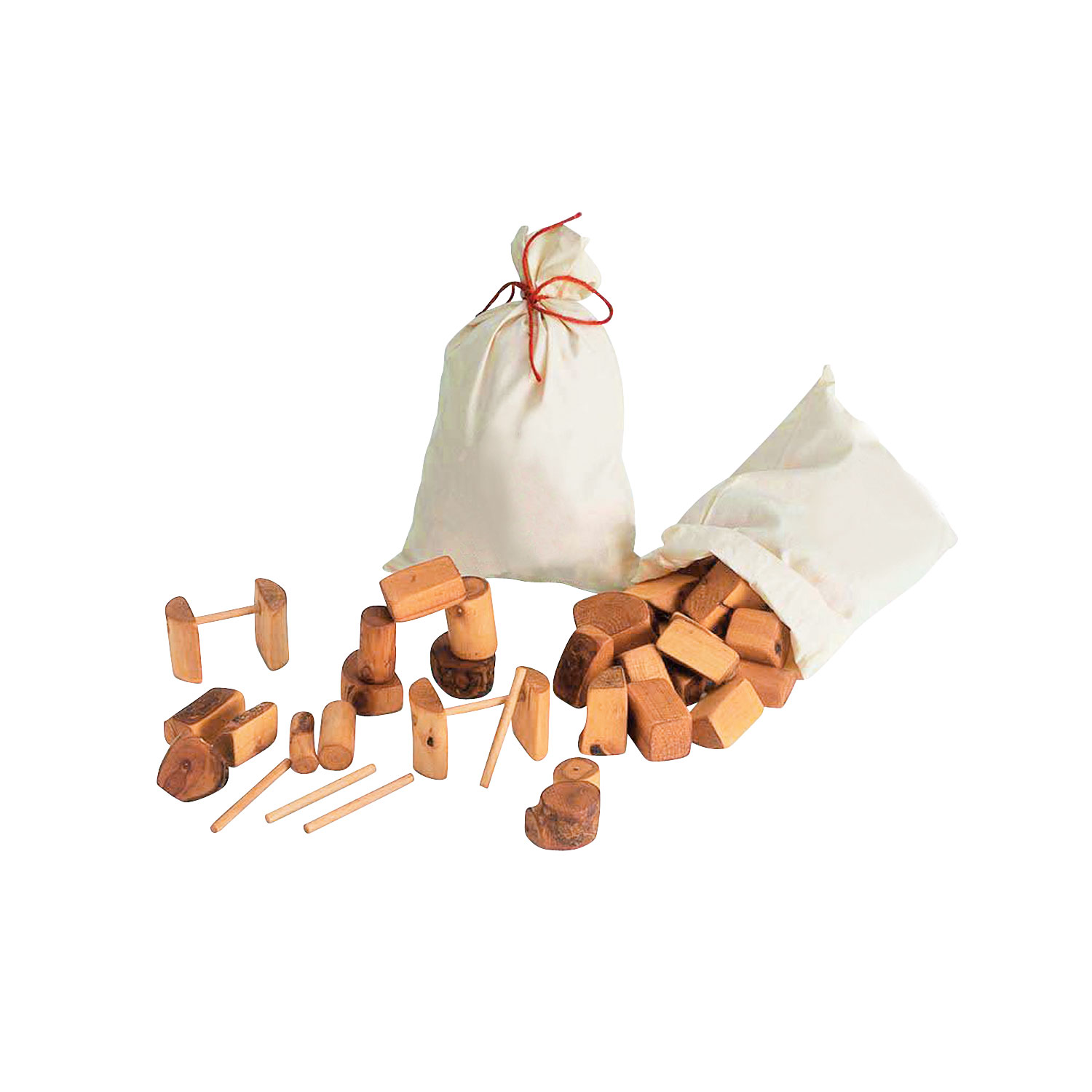 Wooden Building Blocks with Bark