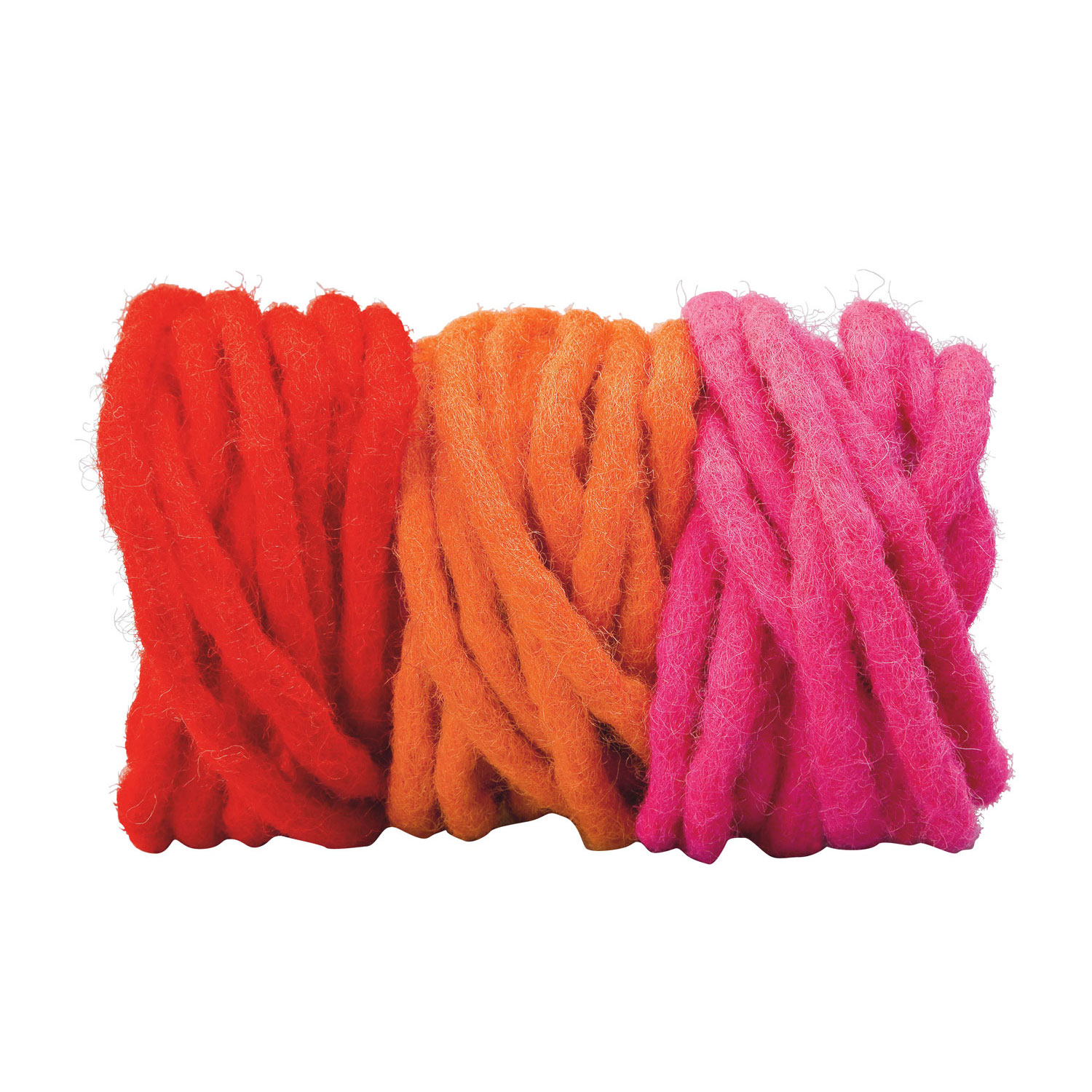 Set of 3 Thin Woolfelt Cords in Red, Orange and Pink