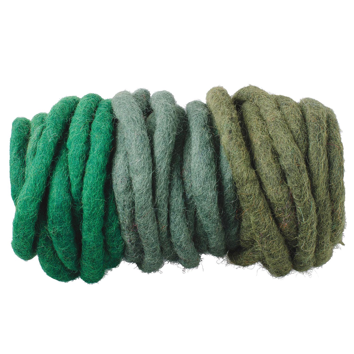 Woolfelt Cords in Green Sahdes