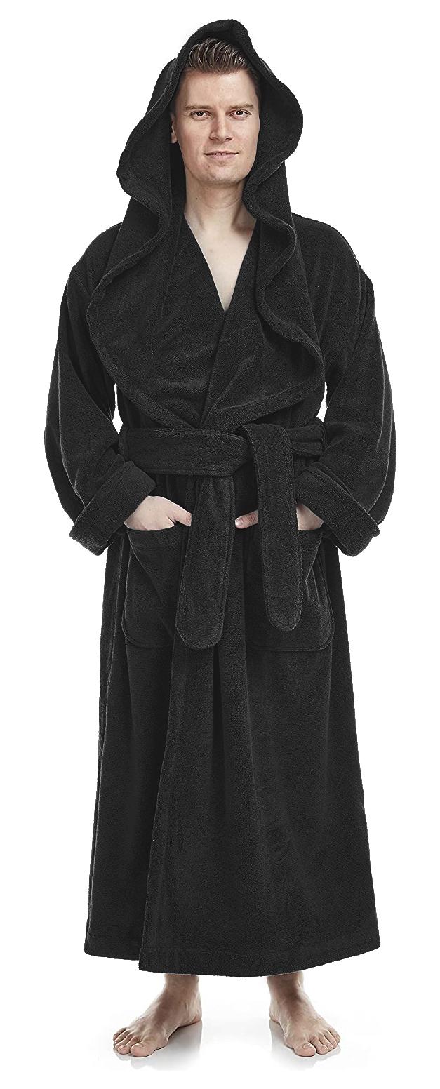 Bademantel Monk für Damen und Herren, große Kapuze, extra lang, 100% Baumwolle