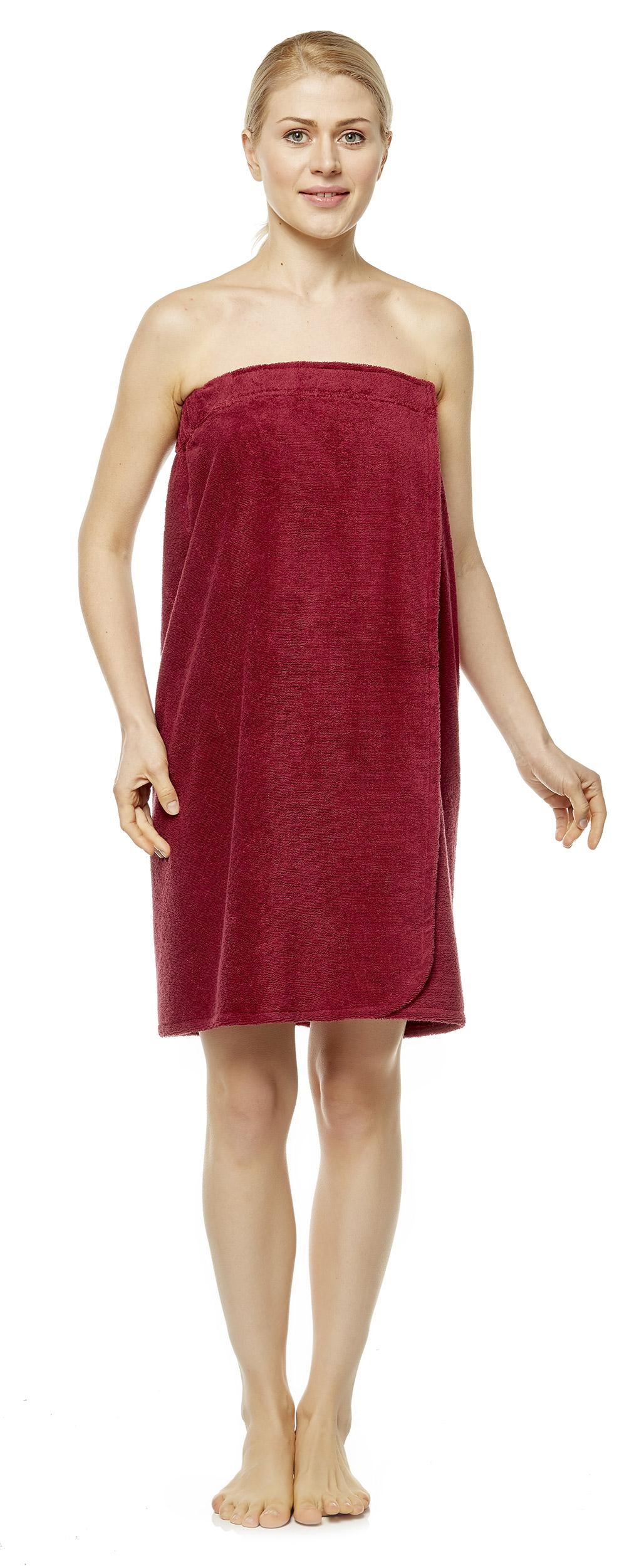 Saunakilt für Damen mit Gummizug und Klettverschluss, knielang, 100% Baumwolle