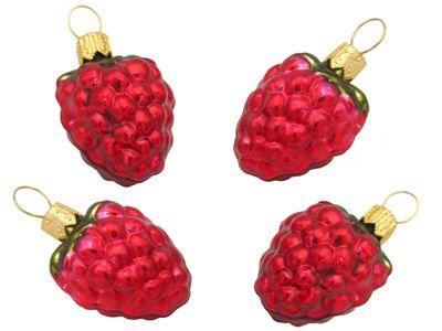 4 Himbeeren Beeren Christbaumschmuck Weihnachten Glas