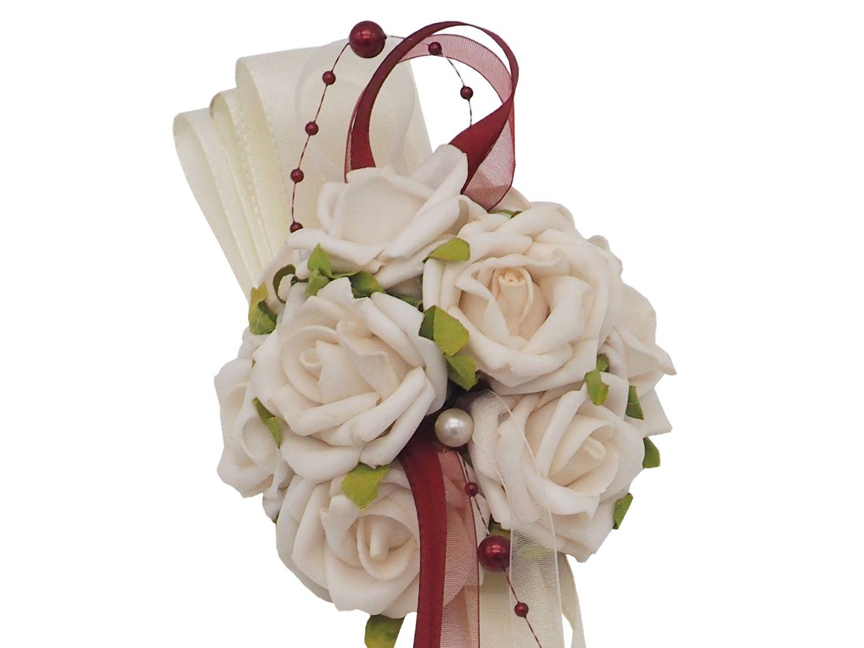 Autodeko Autoschmuck Blumengesteck Tischaufleger Gesteck Creme Bordeaux Rot Rosen