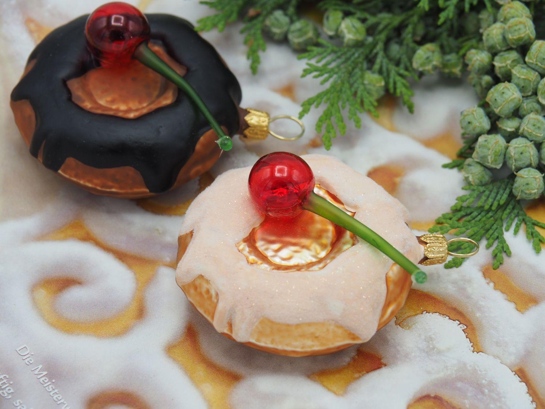 2x Donut Kuchen Christbaumschmuck Baumschmuck Weihnachten Deko Tischdeko