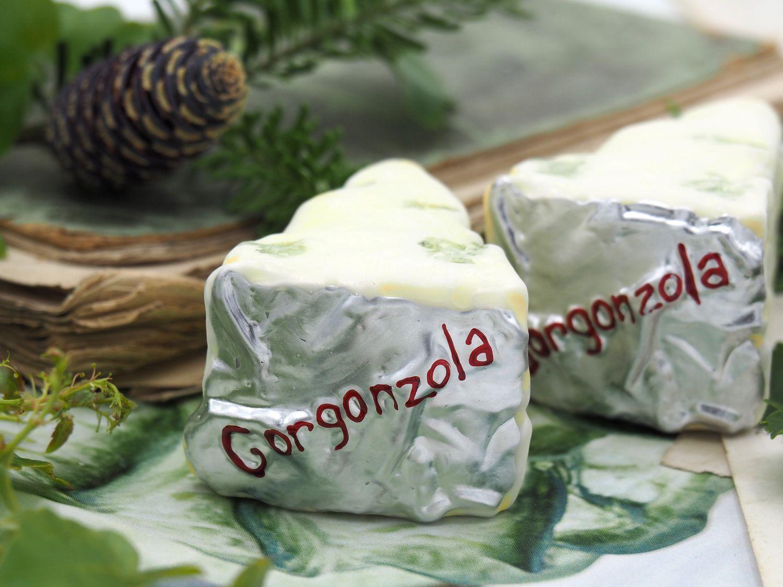 2x Käse Gorgonzola Silber Christbaumschmuck Baumschmuck Weihnachten Weihnachtskugel