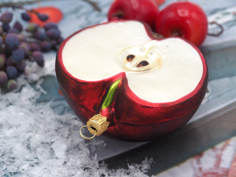 Apfelhälfte Rot Apfel Christbaumschmuck Weihnachten Weihnachtskugel Deko